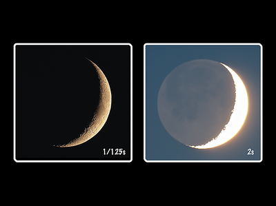 Crescent vs Earthshine
