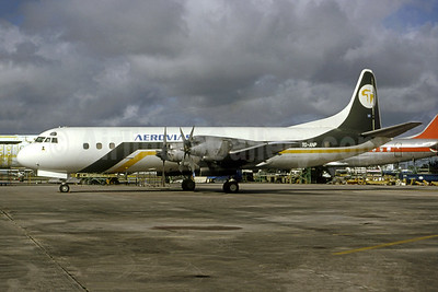 Aerovias (Guatemala) Lockheed 188C (F) Electra TG-ANP (msn 2022) (Transafrik colors) MIA (Bruce Drum). Image: 105360.