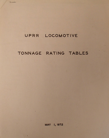 1972 Locomotive Tonnage Ratings
