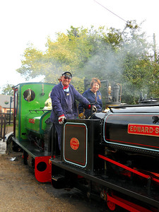 Driver Calver at the helm of Edward Sholto with loco owner Margaret Neale firing.