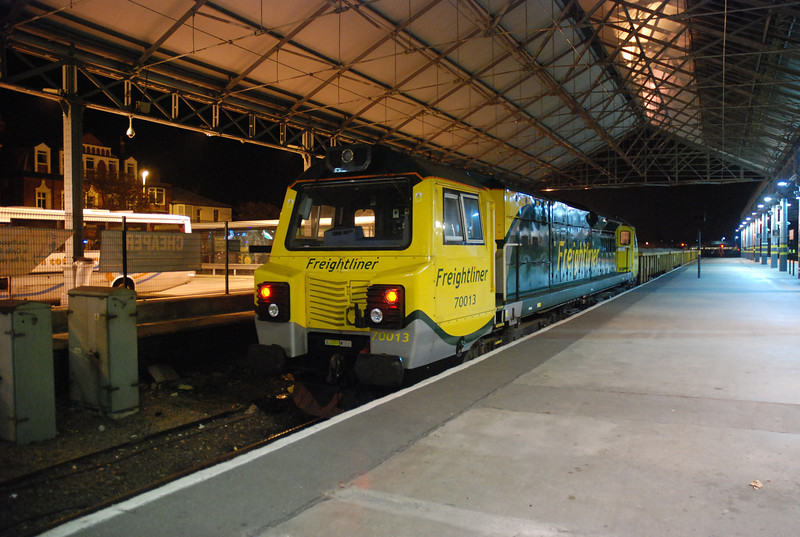 As explained in the Gallery text i had a mad  sprint like on the Tour De France back to Southport Station <br /> <br /> and this was the shots i got the 70 was already in the platform time i got there but the driver was still sorting himself out so i had time to my tripod out and get a few decent shots <br /> <br /> The above shows 70 013 <br /> <br /> First time i've ever seen a 70 at  Southport <br /> <br /> in plat 6 <br /> <br /> working <br /> <br /> 6Y21 19.11 Basford Hall - Southport with a rake of JNA's with bedding stone