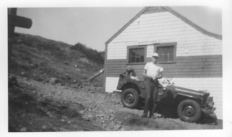 Roger Gilmore '54 and his Jeep at Winter Cabin; Mt. Moosilauke.