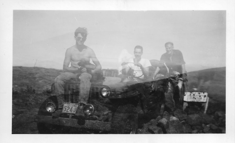 """On summit: Bobby Moody (w/Cinder) of Warren NH, Roger Gilmore '54, + Smith """"Mike"""" Johnson, a guest at the Ravine Lodge."""