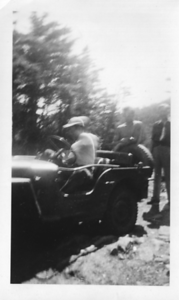 A scene of the Jeep climbing Mount Moosilauke on September 9, 1951, with Roger Gilmore driving.