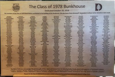The donor board for the Class of 1978 bunkhouse.