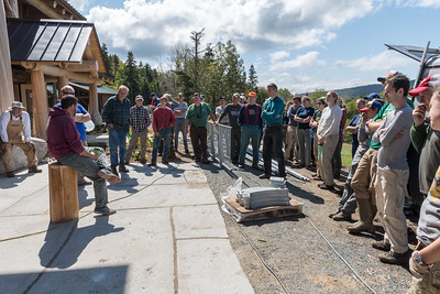 Project manager James Pike explains the new Ravine Lodge. Photo by David Kotz '86.