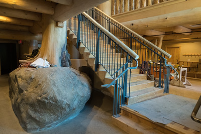 The centerpiece of the new MRL is a huge boulder (from on-site) and pine tree (from Put Blodgett). Photo by David Kotz '86.