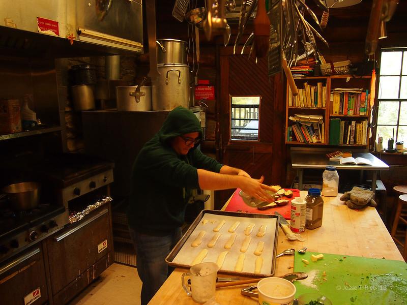 Juan Sanchez '13 makes tiramisu from scratch.