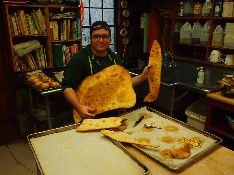 Juan Sanchez '13 shows off his fennel crackers.