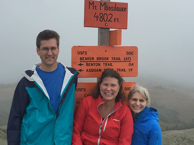 David Kotz '86 with Becky Todd '84 and Sue Fernyak '84 on the summit of Moosilauke, on the last day of operation for Moosilauke Ravine Lodge. Photo by Viva Hardigg '84.