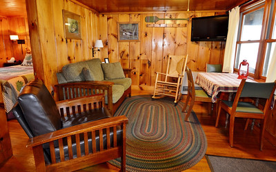 Cozy lakefront cabin at Tall Timber Lodge in Pittsburg, NH.