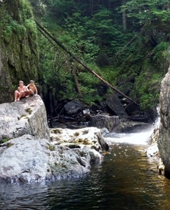 Swimming at Garfield Falls, Pittsburg, NH