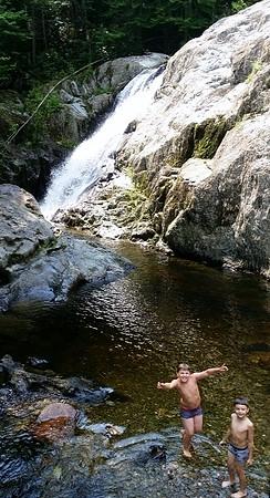 Swimming at Garfield Falls in Pittsburg, NH.