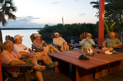 "Yvon Chouinard, Tom McGuane, Michael Keaton, Tom Brokow, Lefty Kreh and Bill Klyn being filmed for ""Pirates of the Flats"" TV movie. Abaco Lodge, Bahamas."