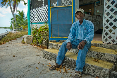"Charles Smith the creator of the ""Crazy Charlie"" Bonefish fly at home on Andros Island, Bahamas"