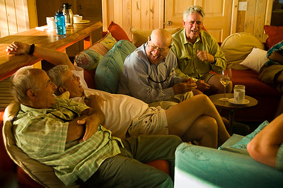 Yvon Chouinard, Tom Brokow, Lefty Kreh and Tom McGuane at Abaco lodge.  Abaco, Bahamas.