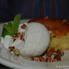 """May 10, 2015<br /> <br /> """"MOTHER'S DAY""""<br /> <br /> The obligatory plate shot of my hubby's dessert - """"Delta Delight"""" (a Moist Yellow Cake Mixed with Cream Cheese and Pecans topped with Vanilla Bean Ice Cream)<br /> <br /> Giradina's Restaurant<br /> @The Alluvian Hotel<br /> 316 Howard Street<br /> Greenwood, MS"""