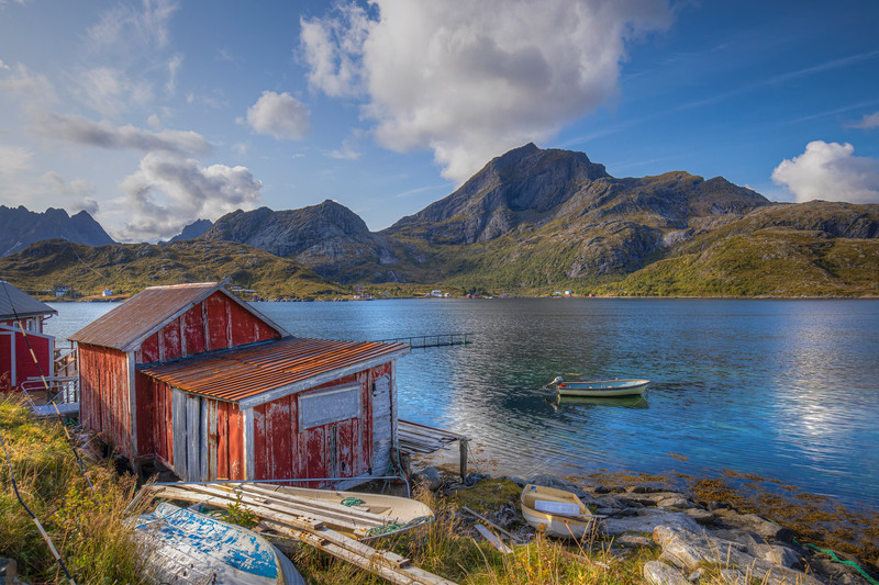 Red Huts And Rowboat, Sund