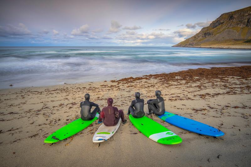 Surfers, Unstad Beach