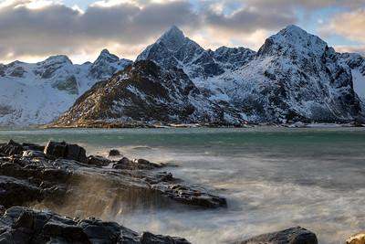 The Lofoten Islands along the coast of Norway are famous for their beaches and mountain views