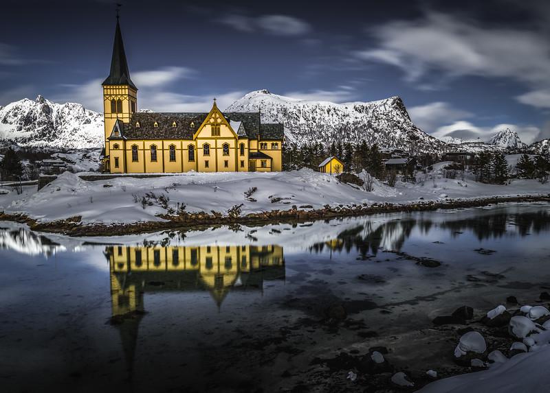 Scandinavian Mirror! - Lofoten Cathedral, Norway