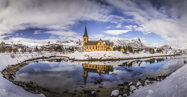 Reflections of a bright blue sky - Lofoten Cathedral