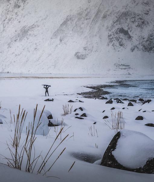 Arctic Surfer! - Unstad Beach, Lofoten