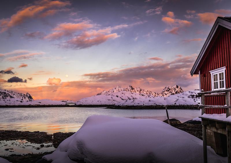 Fire and Moon - Lofoten, Norway