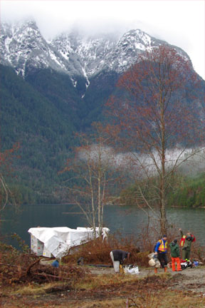 Tree planters going to work in Narrows Inlet.