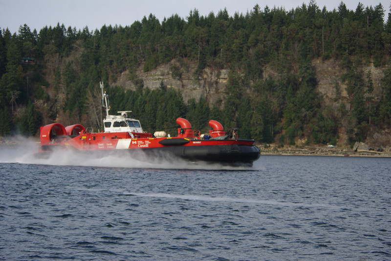 Canada Coast Guard hovercraft in Dodd Narrows, Nanaimo.