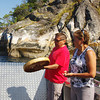A song of celebration for visiting dignitaries in front of pictographs in Sechelt Inlet.