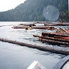 """A """"boom boat"""" is pushing these bundles into sections to be secured and towed out of the Inlet."""