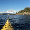 Kayaking in Pender Harbour, looking across the bottom of the Agamemnon Channel.