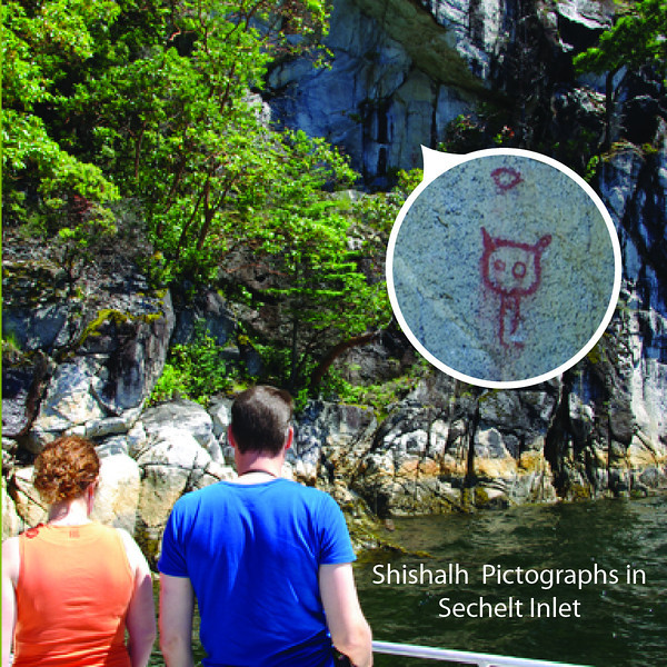 There is so much special in Sechelt and Salmon Inlets.  Here we are looking at Shishalh pictographs.