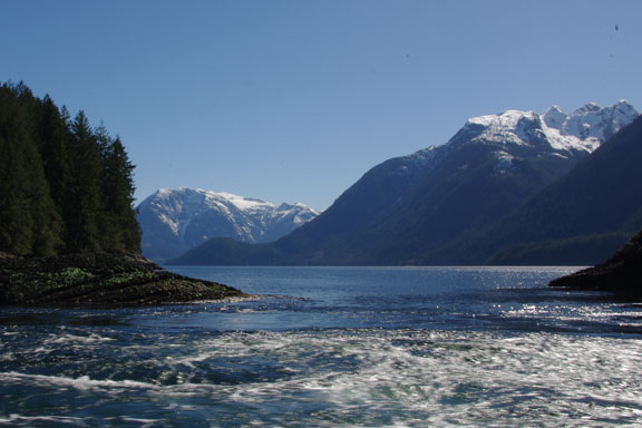 From the entrance to Princess Louisa Inlet, looking down Jervis Inlet.