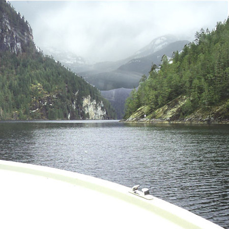 Echo Rock, the last corner before the head of Princess Louisa Inlet and Chatterbox Falls.