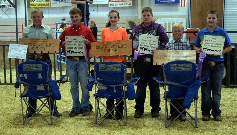 Champion and reserve champions in the Logan County Fair Round Robin Showmanship Contest, Friday, Aug. 11, 2017, were, from left; Cooper Carlson, champion senior showman; Riley Meisner, reserve champion senior showman; Jaylssa Maker, champion intermediate showman; Brandyn Hill, reserve champion intermediate showman; Cooper Carlson, champion junior showman; and Jaxon Samber, reserve champion junior showman.