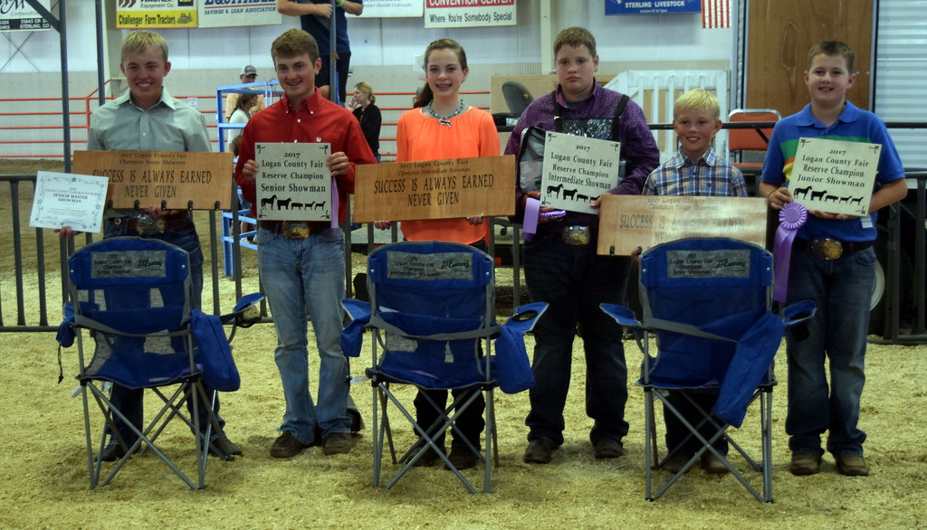 . Champion and reserve champions in the Logan County Fair Round Robin Showmanship Contest, Friday, Aug. 11, 2017, were, from left; Cooper Carlson, champion senior showman; Riley Meisner, reserve champion senior showman; Jaylssa Maker, champion intermediate showman; Brandyn Hill, reserve champion intermediate showman; Cooper Carlson, champion junior showman; and Jaxon Samber, reserve champion junior showman.