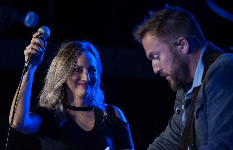 Jill and Logan Mize perform together at The Hat in Manhattan, Kansas on Nov. 3, 2018. Jill will open for her husband Logan Mize when she joins him on his tours. (Photo by Justin Wright | Collegian Media Group)