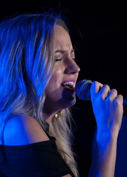 Jill Mize sings during a performance at The Hat in Manhattan, Kansas on Nov. 3, 2018. Jill will open for her husband Logan Mize when she joins him on his tours. (Photo by Justin Wright | Collegian Media Group)