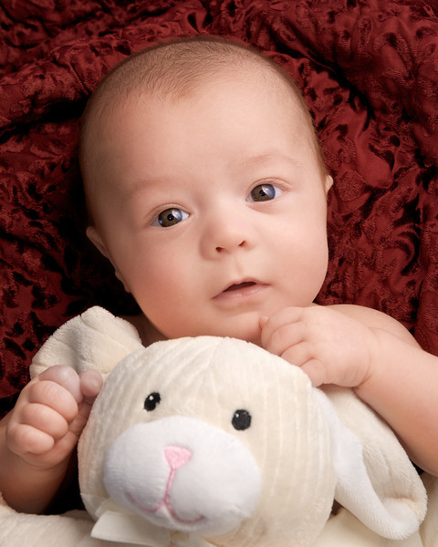 January 6, 2010. Logan with his supersoft bunny from Grandma Betty