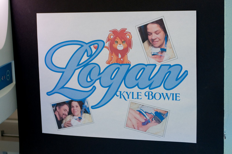 Here is the sign we made Logan. It's taped up to the wall next to his isolette.