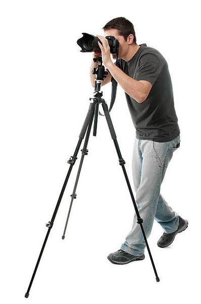 Photographer with camera, isolated on white