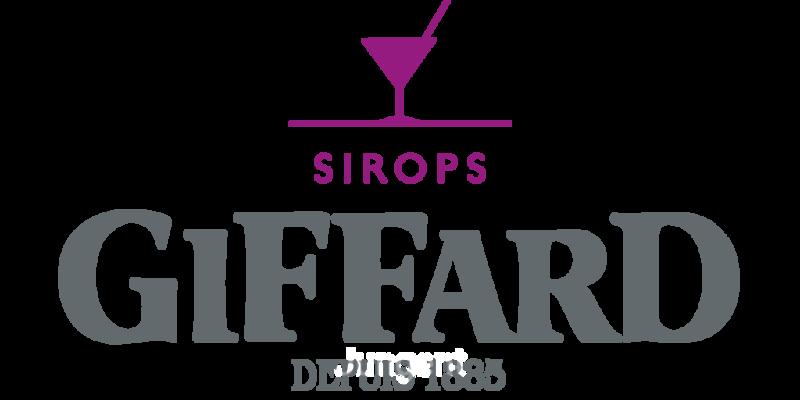 Giffard Sirops logo transparent .png<br /> Rosa C50 M100 J0 N0 or 253C pantone; <br /> Grey C15 M0 J0 N70 or 7545C pantone