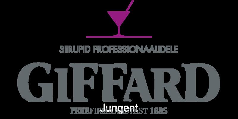 Giffard siirupid professionaalidele<br /> Rosa C50 M100 J0 N0 or 253C pantone; <br /> Grey C15 M0 J0 N70 or 7545C pantone