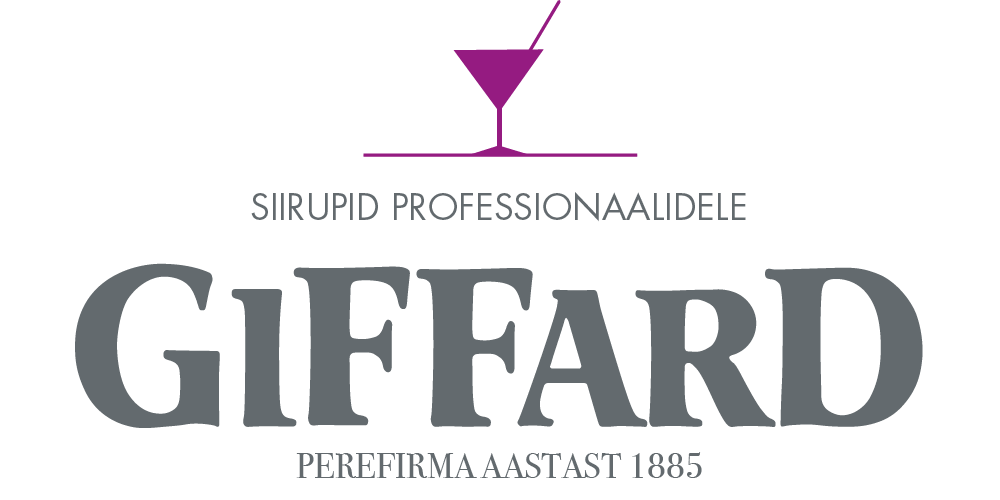 Giffard siirupid professionaalidele Rosa C50 M100 J0 N0 or 253C pantone;  Grey C15 M0 J0 N70 or 7545C pantone