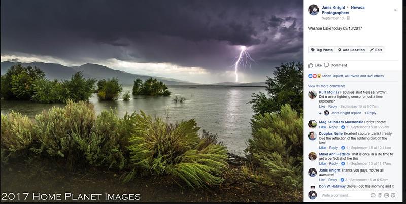 Lightning on Washoe Lake