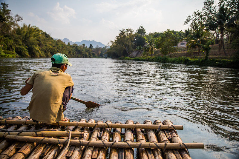 Floating down the River Kwai on a bamboo raft