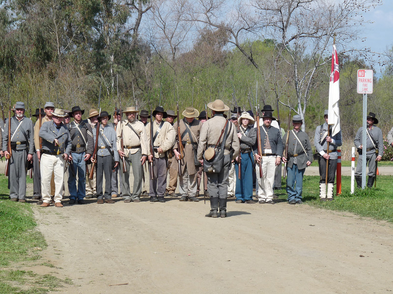 """In Virginia, I'll be the re-enactment troops don't have the problem of """"no parking"""" signs all about"""