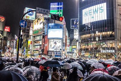 Shibuya crossing under the rain